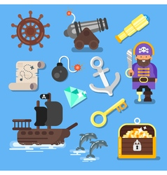 flat style set of icon pirate ship treasure chest vector image