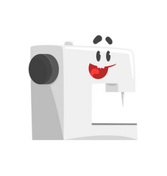 Funny sewing machine character with smiling face vector