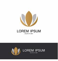 Gold flower lotus logo vector