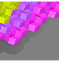 Grey background with multicolored volume cubes vector image