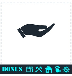 Holding palm icon flat vector