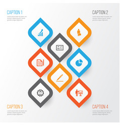 job icons set collection of contract increasing vector image vector image