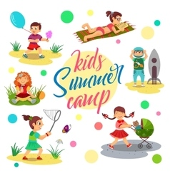 Kids summer camp cartoon children girl vector