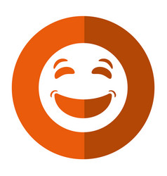 laughing emoticon style icon shadow vector image