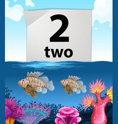 Number two and two fish under the sea vector image
