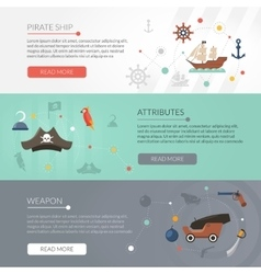 Pirate banner set vector image vector image