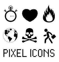 Pixel icon set vector image