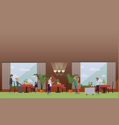 restaurant meeting in flat vector image