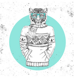 Retro hipster animal tiger dressed in pullover vector