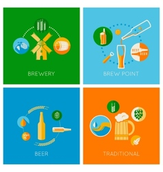 set of flat beer design icons vector image