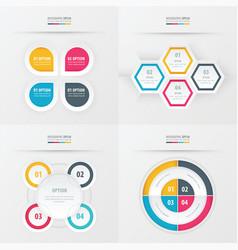 set of presentation design yellow blue pink vector image vector image