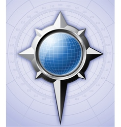 Steel compass rose with blue globe inside it vector image vector image
