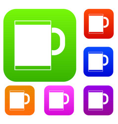 tea mug set collection vector image