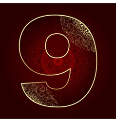 Vintage number 9 with floral swirls vector image