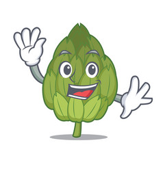 Waving artichoke character cartoon style vector