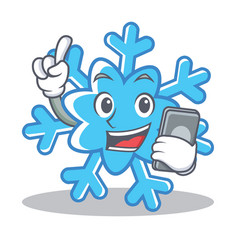 with phone snowflake character cartoon style vector image vector image