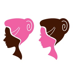 Women facial silhouette set - pink and brown vector image vector image