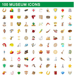 100 museum icons set cartoon style vector image vector image