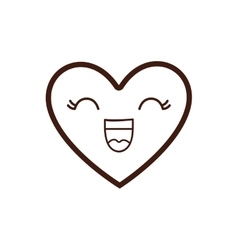 kawaii happy heart icon vector image