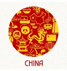 China card design chinese symbols and objects vector