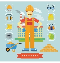 Architecture and construction color flat concept vector