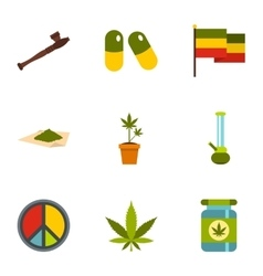 Hemp icons set flat style vector