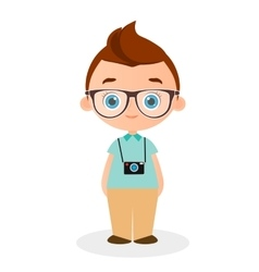 Boy with glasses and camera vector
