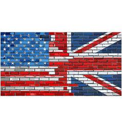 Brick wall usa and uk flags vector