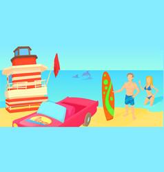 miami travel horizontal banner cartoon style vector image