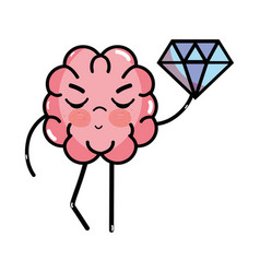 Icon adorable kawaii brain with a lot of diamond vector