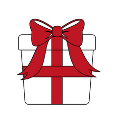Color silhouette image giftbox with red wrapping vector