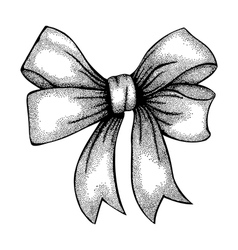 Ribbon tied in a bow freehand drawing vector