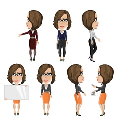 Girl with glasses at work vector