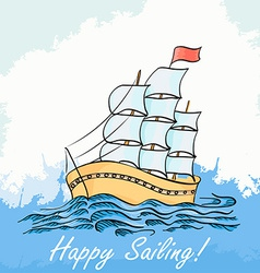 A ship sailing on the sea hand drawing vector