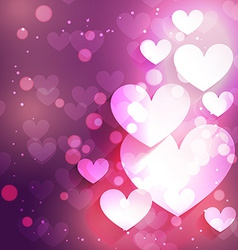 Heart background with bokeh effect vector