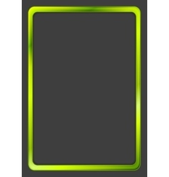 Bright green neon frame on dark background vector