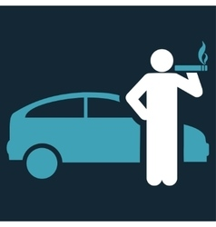 Smoking taxi driver icon vector