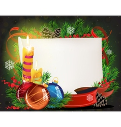Paper scroll with candles and christmas balls vector