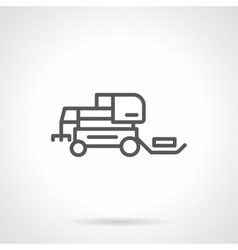 Hay tractor black line icon vector