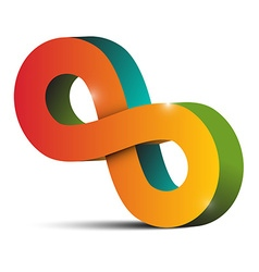 Infinity symbol - tilted endless colorful eight vector