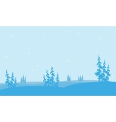Christmas spruce in hill of silhouette vector