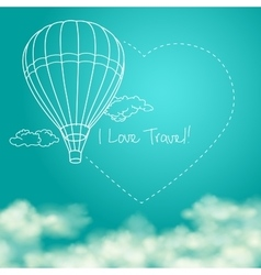 Balloon flying in the sunny blue sky leaving vector image vector image