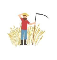 Bearded farmer with scythe and wheat field vector