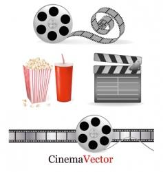 big set with cinema elements vector image