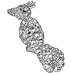 Bird doodle cartoon - hand drawing vector
