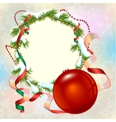 Christmas card template Fir branch frame and vector image vector image