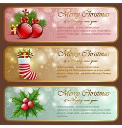 Christmas vintage horizontal banners vector image