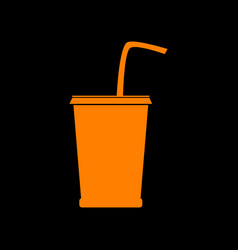 drink sign orange icon on black vector image