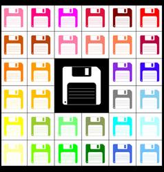 Floppy disk sign felt-pen 33 colorful vector
