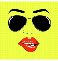 Girl face outline with sunglasses vector